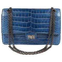 be42f5784e9226 Chanel Blue Sapphire Crocodile 2.55 Flap Bag Crocodile Handbags, Crocodile  Skin, Chanel Purse,