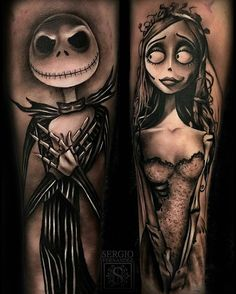 @inksav post of the day - #TimBurton tattoos by artist @sergiofernandeztattoo #supportart #support #artists #worldwide #inksav #worldofpencils .