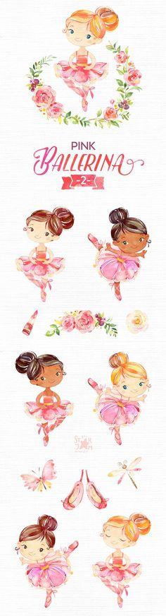This Pink Ballerina 2 watercolor set is just what you needed for the perfect invitations, craft projects, paper products, party decorations, printable, greetings cards, posters, stationery, scrapbooking, stickers, t-shirts, baby clothes, web designs and much more.  :::::: DETAILS