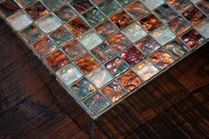 mosaic coffee table - also make frames with glass tile tray