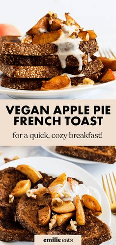 This apple pie french toast is a cozy, satisfying breakfast for fall! The apple pie topping majorly upgrades this vegan french toast recipe. How To Make Breakfast, Eat Breakfast, Vegan French Toast, Pie Tops, Coconut Whipped Cream, Slice Of Bread, Vegan Breakfast Recipes, Recipe Of The Day, Apple Pie