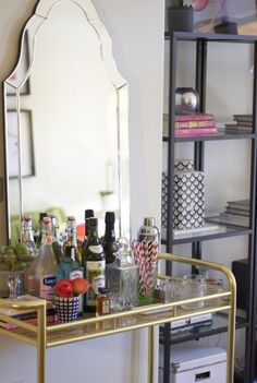 A DIY bar cart is an easy home upgrade that keeps on giving! Here are 7 bar carts that look expensive but barely cost a thing to make.