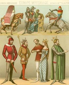 12th-14th Century men's dress from Racinet. (Just wanted to see what would properly be worn opposite a bliaut or cotehardie.)