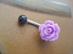 Lavender Purple Rose Belly Button Ring- Navel Piercing Jewelry. $15.00, via Etsy.
