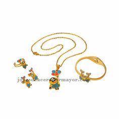 juego de joyas de dibujos animados amarillo con collar ,aretes,pulsera y anillo color dorado en acero inoxidable-SSNEG051292