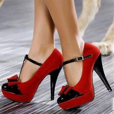 click on pic to see more Shinning red high heel shoes for ladies.