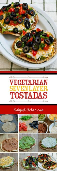 Vegetarian Seven-Layer Tostadas are delicious for a Meatless Monday lunch or game-day food. I use low-carb tortillas for a tostada that's low-glycemic, vegetarian, and South Beach Diet Phase Two; if you want a lower-carb version skip the beans and use low-carb tortillas. [found on KalynsKitchen.com] #SevenLayerTostadas #VegetarianTostadas #VegetarianSevenLayerTostadas