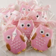 cute pink owl cookies