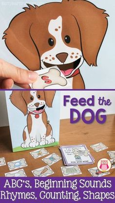 Teach kids the alphabet, rhyming words, beginning sounds, counting with this hands-on learning activity. This dog activity is so much fun that your kids won't even realize that they are learning. Read the direction card to learn which treat the dog want. Kids can then find the correct treat and feed it to the cute little puppy. This is a perfect addition to your pets unit. The activity is appropriate for preschool, pre-k, and kindergarten.