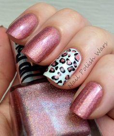 Nail Polish Wars leopard accent nail