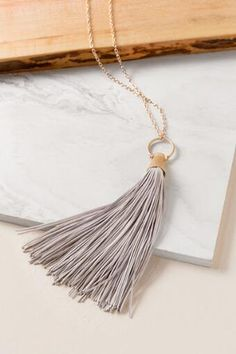 Luxe Collection Large Leather Tassel Necklace