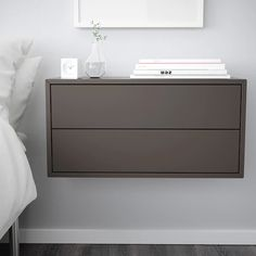 EKET Cabinet with 2 drawers - dark gray. Find it here - IKEA Floating Drawer, Floating Cabinets, Floating Nightstand Ikea, Ikea Floating Shelves, Home Bedroom, Modern Bedroom, Bedroom Decor, Ikea Eket, Armoire Ikea