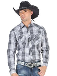 40305 Camisa Vaquera Caballero El General, 55% Cotton 45%Polyester - Gray