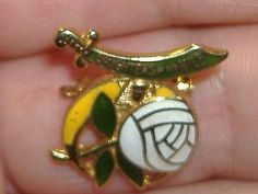 DAUGHTERS-Of-NILE-SHRINERS-ENAMEL-WHITE-ROSE-BROOCH-PIN-Masonic-Shriners-Jewelry