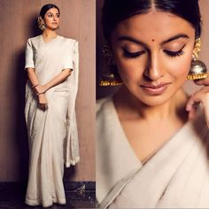 Who - Saree Jewellery Styled by Indian Look, Indian Ethnic Wear, Indian Attire, Indian Outfits, Saree Poses, Sari Blouse Designs, Elegant Saree, Saree Look, Indian Couture