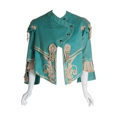 1890's Victorian Antique Tiffany-Blue Applique Wool Bell-Sleeve Cropped Jacket | From a collection of rare vintage jackets at https://www.1stdibs.com/fashion/clothing/jackets/