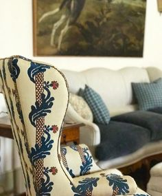 """Le Mas des Poiriers ~ Le Manach 'Victor Hugo"""" fabric on this high back antique wing chair Swedish Decor, French Decor, French Country Decorating, Provence, Chair Fabric, Fabric Board, Pierre Frey, Wing Chair, Farrow Ball"""