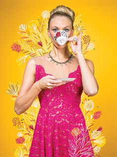 Traci Reece lace dress, $538; mini marquis cluster earrings, $68; ring set, $58; and necklace, $162, Tuni in Winter Park.  Floral Fantasy - Orlando Magazine - April 2016 - Orlando, FL