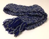 Chunky crochet mini scarf double yarn neck warmer dark gray and blue fall