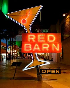The Red Barn ~ Maryland. The Red Barn closed in 1988 and owner Claude Howard donated its classic cocktail neon glass sign to the Allied Arts Council.