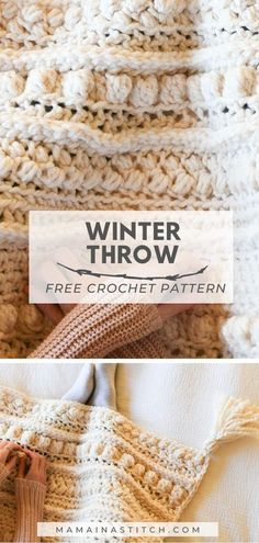 Chunky sampler blanket crochet pattern wintertide throw chunky crochet blanket worked with lion brand wool ease thick and quick Crochet Afghans, Crochet Motifs, Knit Or Crochet, Crochet Crafts, Crochet Stitches, Blanket Crochet, Crochet Throws, Crotchet, Crochet Sampler Afghan Pattern