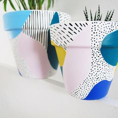 Shop Bright Abstract Plant Pot - from This Way To The Circus in Vases & pots, available on Tictail from Painted Plant Pots, Painted Flower Pots, Painted Vases, Pottery Painting, Ceramic Painting, Cuadros Diy, Diy And Crafts, Arts And Crafts, Do It Yourself Inspiration