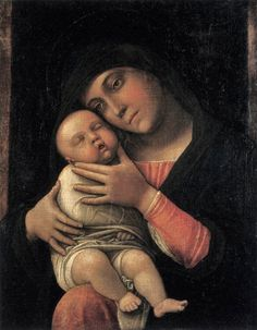 Andrea Mantegna Virgin and Child, , Museo Poldi Pezzoli, Milan. Read more about the symbolism and interpretation of Virgin and Child by Andrea Mantegna. Renaissance Artists, Renaissance Paintings, Italian Renaissance, Sculpture Romaine, Andrea Mantegna, Art Ancien, Jesus Christus, Blessed Mother Mary, Italian Painters