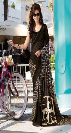 G3-LS15961 Buy Black georgette printed designer wear saree Online
