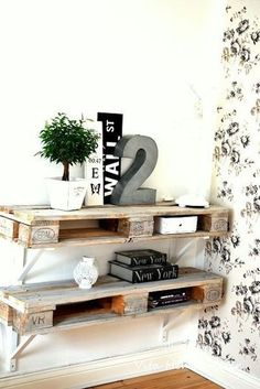 10 Ways to Upcycle Wooden Pallets by Jen Stanbrook Palet shelves. Nice way to hide a router The post 10 Ways to Upcycle Wooden Pallets by Jen Stanbrook appeared first on Pallet Ideas. Oak Furniture Land, Pallet Furniture, Home Furniture, Furniture Ideas, Furniture Stores, Cheap Furniture, Garden Furniture, Unique Home Decor, Home Decor Items