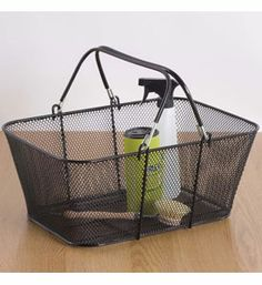 Gather up items and conveniently tote them in style with a Large Black Mesh Shopping Basket.  This handy storage bin features a pair of large carrying handles coated with non-slip rubber grips reinforced black mesh construction and a large capacity design that can hold a number of items and also nests for space-saving