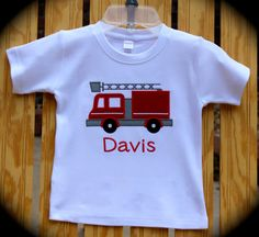 Custom Personalized Appliqued Boy's Fire Truck on White Shirt....Great for Themed Birthday....Boy's Birthday Shirt