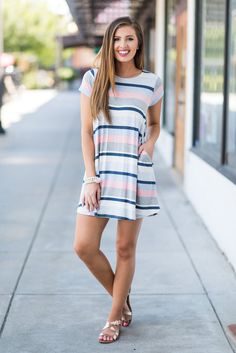 """""""Ticket To Anywhere Dress, Blue-Pink""""This is such a fab traveling dress! It's so so so comfy! Trendy little t-shirt dresses like this are always a good choice!"""