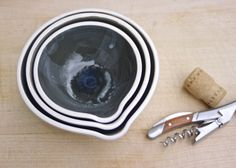 pinch & prep bowls in charcoal blue by CenterCeramics on Etsy, $58.00