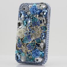 Luxury 3D Swarovski Crystal Blue Diamond Double Butterfly Bling Case Cover for iphone 4 4s. $79.95, via Etsy.