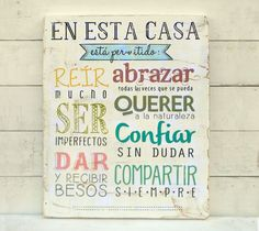 Cartel | En esta casa está permitido... - ONDECO Ideas Para, Canvas Wall Art, Hand Lettering, Decoupage, Diy And Crafts, Projects To Try, Wood Projects, Sweet Home, Art Deco