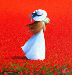 Girl in a Meadow (Painting),  95x90x2 cm by DIMA DMITRIEV The painting characterized by strong colour and bold strokes makes with palette knife on canvas background playing with light and shadow.
