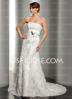 Wedding Dresses - $214.69 - A-Line/Princess Strapless Court Train Satin Lace Wedding Dress With Beadwork Sequins (002012170) http://jjshouse.com/A-Line-Princess-Strapless-Court-Train-Satin-Lace-Wedding-Dress-With-Beadwork-Sequins-002012170-g12170