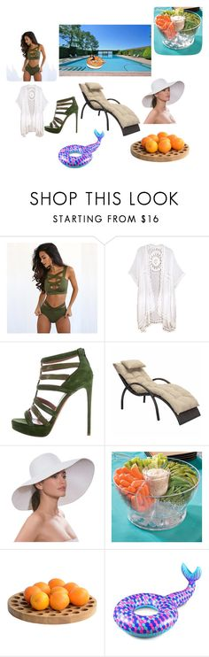 """Outdoor Pool Fun"" by kedaboo ❤ liked on Polyvore featuring Do Everything In Love, Zuo, Eric Javits, Improvements, .wireworks and BigMouth"