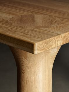 Dining table with chubby wooden legs.