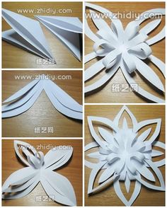 How to fold paper craft origami snowflake step by step DIY tutorial picture instructions