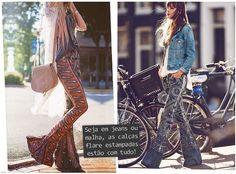 Moda Imagem -As calças flare surgiram nos anos 1970, oferecendo maior liberdade de movimento seu corte em forma de sino do joelho ao tornozelo faz sucesso até hoje.
