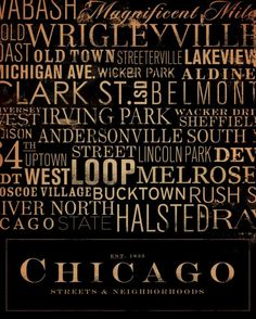 This one might be a 10 on the difficult level!   Chicago Streets Typography 8 x10  archival print