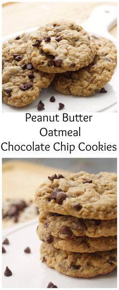 Easy Peanut Butter Oatmeal Chocolate Chip Cookies, No mixer required!