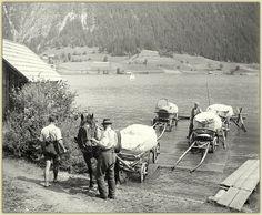 Die Flößer am Weissensee - Bauern waren auf das Floß angewiesen um ihre Ernte von Wald, Feldern und Obstgärten von einem Ufer zum anderen Ufer zu bringen.