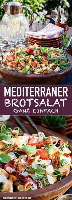 bread salad - made quick and easy - easy to cook - Mediterranean bread salad – www.emmikochteinf … -Mediterranean bread salad - made quick and easy - easy to cook - Mediterranean bread salad – www. Mediterranean Bread, Mediterranean Diet Recipes, Bread Salad, Vegetarian Recipes, Healthy Recipes, Healthy Salads, How To Make Salad, Food Inspiration, Salad Recipes