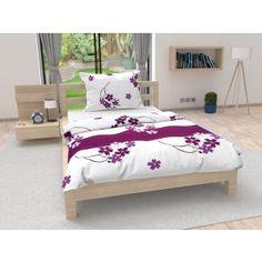 Bavlněné povlečení bílé fialové květiny květy elegantní Bed, Furniture, Home Decor, Decoration Home, Stream Bed, Room Decor, Home Furnishings, Beds, Home Interior Design