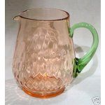 TIFFIN LARGE PINK GREEN WATERMELON GLASS PITCHER