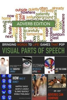 Adverbs Lesson - Visual English - Parts of Speech - Powerpoint Slides - Elementary English - ESL Grammar - Sub Plan. This is a visual powerpoint adverb lesson for elementary students for teacher plans or sub plans that visually illustrates the use and pur