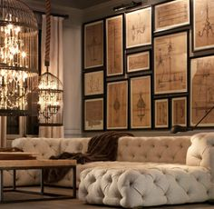 Oversized birdcage chandelier from restoration hardware looks amazing in this style. Note the architectural drawings, light and the tufted sofa. Chic Living Room, Home And Living, Living Spaces, Living Rooms, Modern Living, Cozy Living, Wall Spaces, Decoration Design, Deco Design