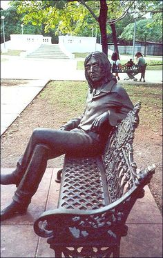 The John Lennon statue in Havana, Cuba. The former Beatle and world-famous rock star seems to be enjoying a lovely day in the park...waiting perhaps for a fan or two to join him?